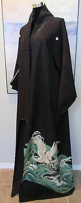 VTG Japanese Tomesode Kimono Formal Black Embroidered & Hand Painted Crane/Waves