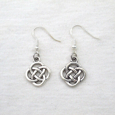 Antique Silver Alloy Ethnic Tribal Round Knot Celtic Earrings 925 Sterling Hooks