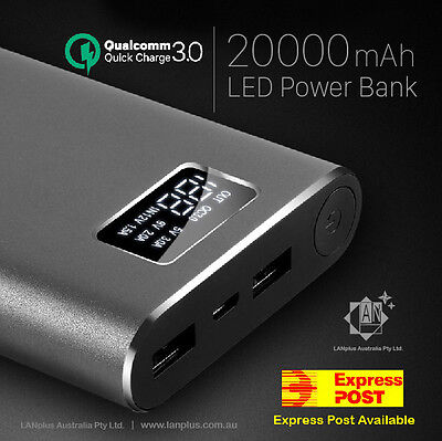 QC 3.0 20000mAh Dual USB Super Fast Charger Battery Power Bank w/ LCD Dual cable