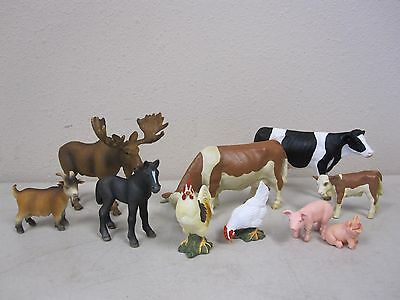 Schleich Animal Lot - Cow / Bovine, Pig, Goat, Moose, Rooster, Horse - Lot of 10