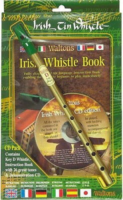 Waltons Irish Tin Whistle CD Pack Brass D Tin Whistle with Music CD, New!
