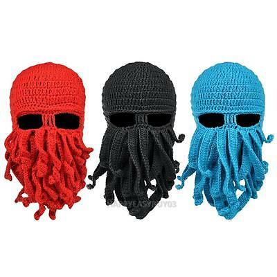Unisex Mask Ski Beanie Hat Squid Octopus Beard Cthulhu Tentacles Sea Cap Winter