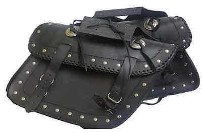 MOTORCYCLE LEATHER SADDLEBAGS SMALL SET 2pc