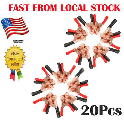 20 Red&Black Insulating Plastic Boots Test Probe Alligator Clips Electrical Clip