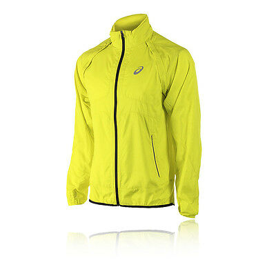 Asics Convertible Mens Yellow Water Resistant Full Zip Running Jacket Top