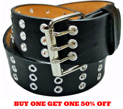 Men's Women's Leather Three Row Silver Grommet Holes Black Belt S / M / L / XL