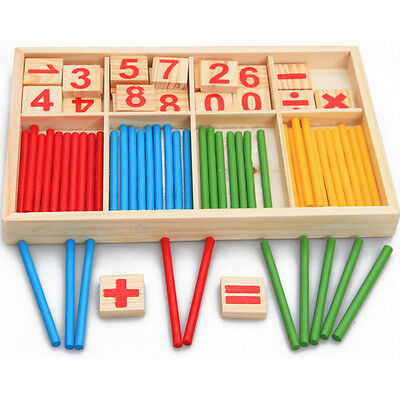 Kids Early Counting Educational Toy Wooden Mathematics Montessori Counting Stick