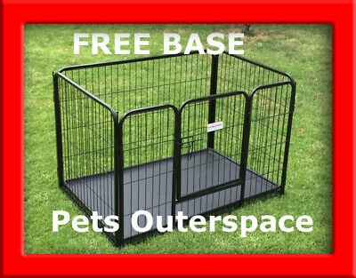 4 Sided Heavy Duty XL Dog Cage Crate Puppy Play Pen Enclosure FREE BASE INCLUDED