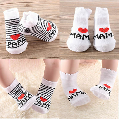 Lovely Baby Newborn Infant Kids Stripe Stripe Cotton Princess Socks Love Mama