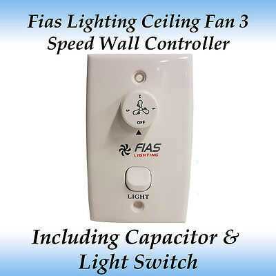 Fias Lighting Ceiling Fan 3 Speed Wall Controller with Capacitor + Light Switch
