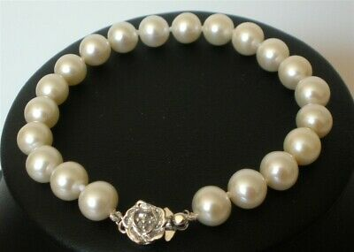"""7.5"""" Genuine AAA 7-8mm Round White Pearl Bracelet Silver Cultured Freshwater"""