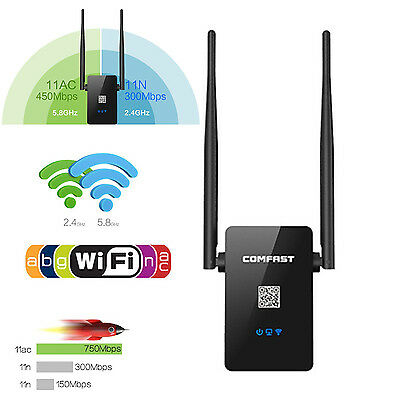 750Mbps Dual Band 2.4G 5GHz Wireless WiFi Ripetitore Router AP Range Extender