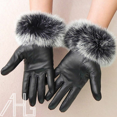 Fashion Ladies Genuine Leather Gloves Fleece Lined Driving Soft Winter Warm