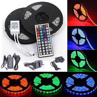 5M 10M 1m-30m RGB LED Strip SMD 5050 Light Flexible Lighting Adapter SET DC12V