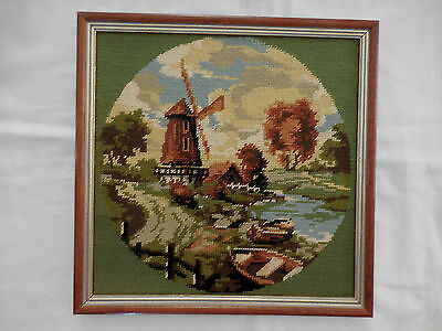 Tapestry Craft Picture Completed & Framed Windmill  Scenery 33 X 33 Cm