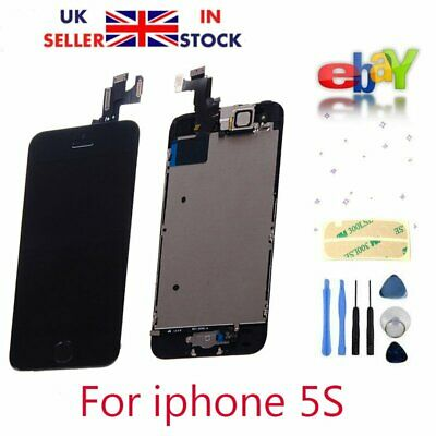 Black Touch Screen Digitizer Assembly For iPhone 5S with Camera & Home Button UK