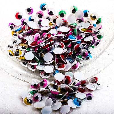 200PCS x Moveable 8mm Color Wiggly Eyelashes Googly Eye Scrapbooking Craft R0470