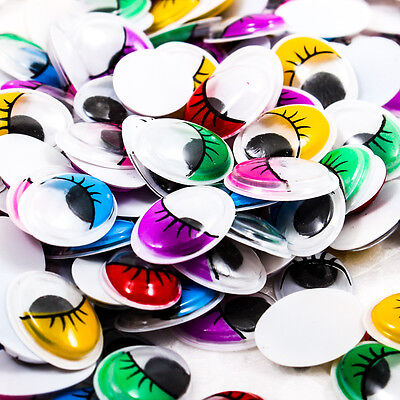 500PCS Moveable Oval 12x16mm Color Wiggly Eyelash Googly Eye Scrapbooking R0477