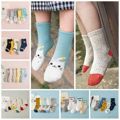 5 Pairs Cute Baby Toddler Kids Girls Boys Thin Soft Cotton Ankle Socks 1-10Y