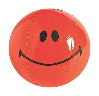 11 Inch Inflatable Emoji Red Smile Face Blow Up Novelty Beach Ball Kids Toy