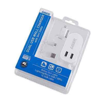 Laser Ac Wall Dual Usb Wall Charger With 3 In 1 Charging Cable