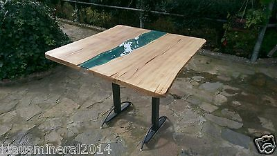 Modern Dining Desk Table Solid Wood, River Glass Top
