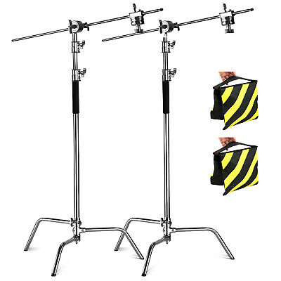 PhtR 2x Heavy Duty Photo Studio 3.25m C-Stand Century Light Boom Arm Sandbag Kit