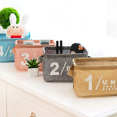 Baby Toys Collection Boxs Small Cotton Linen Storage Basket Desktop cleaning DIY