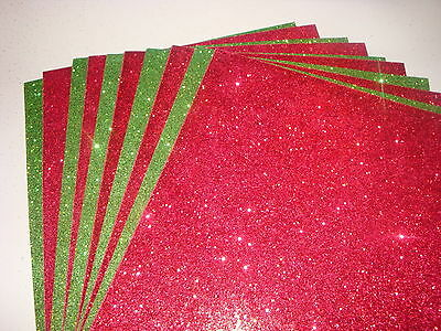 10 x A4 GLITTER SHEETS - Christmas Red & Green - 5 of each colours -Great Price