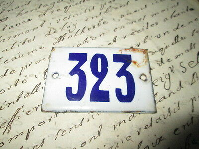 "Antique French Enamel Metal Door House -Gate Number Sign white& blue ""323"""