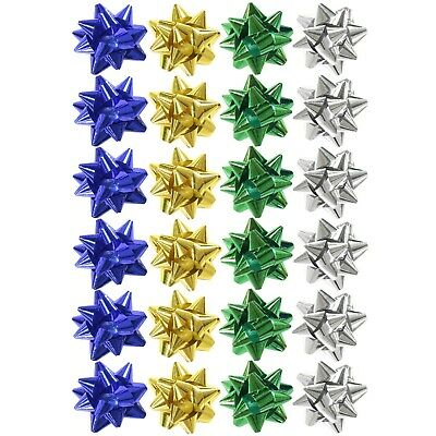 Pack of 24 Metallic Christmas Present Gift Bows - 4cm (Silver, Blue, Green)