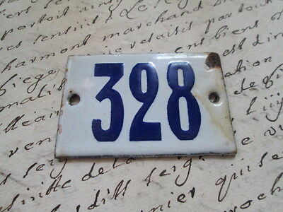 "Antique French Enamel Metal Door House -Gate Number Sign white& blue ""328"""