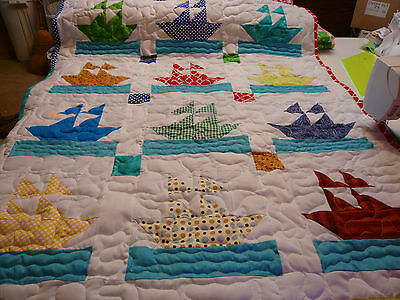 Handcrafted Boy Girl Pieced Sailor Boat Ship Baby Crib Lap Quilt Many Colors