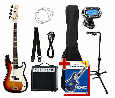 Bass Guitar Beginner Pack Amplifier Gigbag Strap Strings Tuner Cable & Stand Set