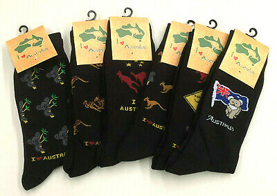 6 Australian AUS Souvenir  Cotton Black Socks 6-11  flag,Kangaroo,Melbourne etc
