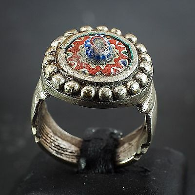 Authentic Antique Venetian African trade Bead Sterling Silver Ring Early 1800s