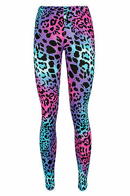 Girls Multi Leopard Leggings Printed Kids 4-13 Years Purple Pink Neon Viscose