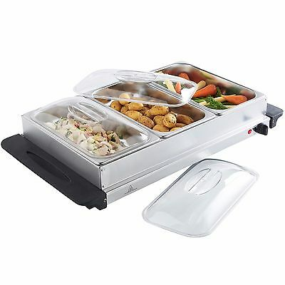 VonShef Large 3 Pan Stainless Steel Buffet Food Server Hot Plate Warming Tray