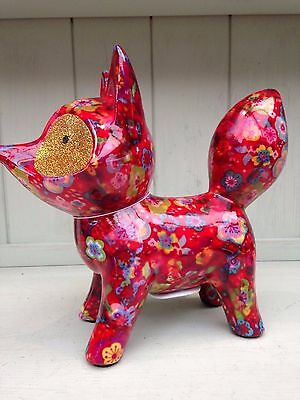 Roxie The Fox Pomme Pidou Moneybox Collectable Red Flowers  + trendy gift box