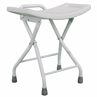 Folding Shower Chair Seat Stool Compact Lightweight Carry Handle Portable Steel