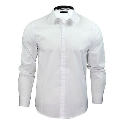 Mens Boys  Plain White Long Sleeve Shirt Cotton Collared Smart School Work S-XL