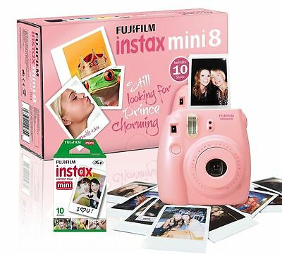 Fuji Pink Instax Mini 8 Instant Camera with 10 Shots Included