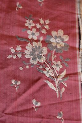 """Antique French 19thC (c1830) Silk Woven Jacquard Floral Textile Fabric~11""""LX32""""W"""