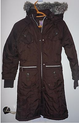 Miss Shirley Girls winter long coat jacket parka Brown Size 10 EUC