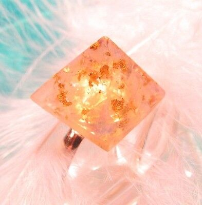 ORGONE Ring with OPALITE & REAL GOLD FLAKES - Pyramid energy for every moment