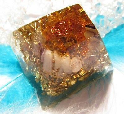 Healing orgone - AMBER & CHALCEDONY & FLUORITE - Protection & Peace of mind