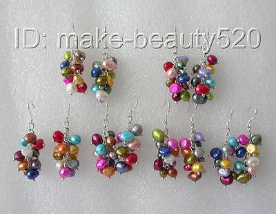 wholesale 5pair baroque multicolor freshwater pearl dangle earrings  s126