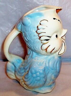 Vintage 1950's Baby Blue American Bisque Chick Pitcher-Trimmed w Gold-Good Cond