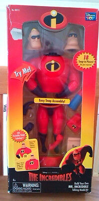Disney/pixar The Incredibles Mr Incredible Build Your Own Talking Fig-New In Box