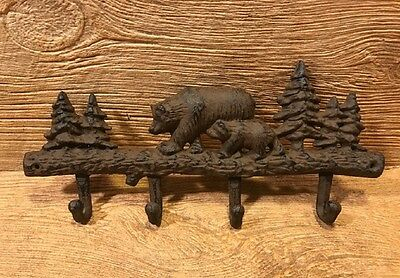 "Cast Iron Bear & Cub Rustic Wall Hooks Rustic 13"" wide Home Decor 0170S-01646"